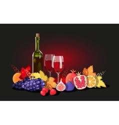 Wine and fruit vector image vector image
