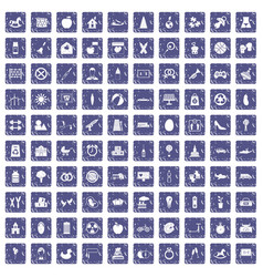 100 maternity leave icons set grunge sapphire vector