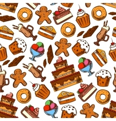 Cakes coffee and ice cream seamless pattern vector