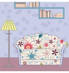 Cartoon funny interior with couch painted vintage vector