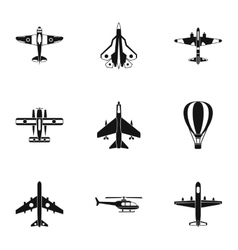 Aircraft icons set simple style vector