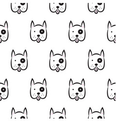 boxer dog seamless monochrome pattern vector image
