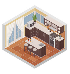 Kitchen interior isometric composition vector