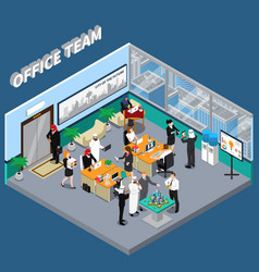 arab persons in office isometric vector image