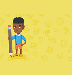 African kid boy standing with a huge pencil vector