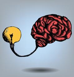 Brain and bulb light vector