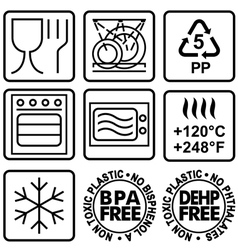 Symbols for marking plastic dishes vector
