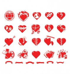 collection hearts vector image