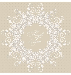 Round lace card vector image