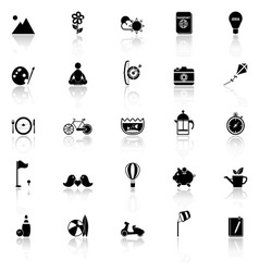 Slow life activity icons with reflect on white vector