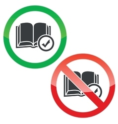 Select book permission signs set vector