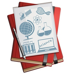 Books and paper with science symbols vector