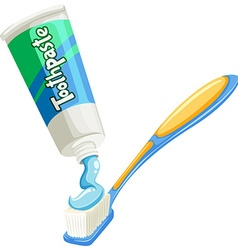 Toothpaste on the the toothbrush vector