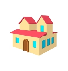 House with a mansards cartoon icon vector