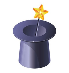 magic hat with magic wand - vector image