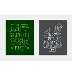 Two happy st patricks day grunge vintage posters vector