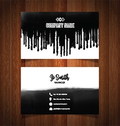 Business card with black paint drips vector image