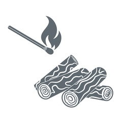 Camp firel icon vector