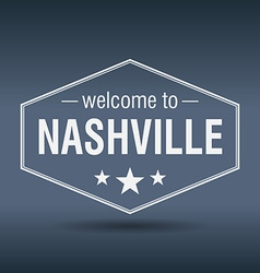 Welcome to nashville hexagonal white vintage label vector