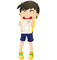 a boy showing marks vector image vector image
