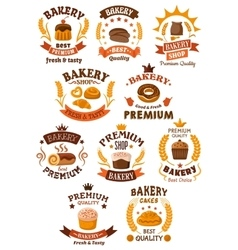 Bakery and pastry badges or emblems vector image