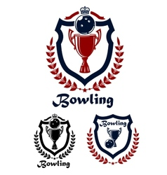 Bowling sport emblems and icons vector image