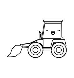 bulldozer flat icon monochrome kawaii silhouette vector image