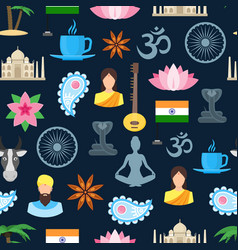 cartoon india seamless pattern background vector image