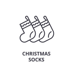 christmas socks line icon outline sign linear vector image
