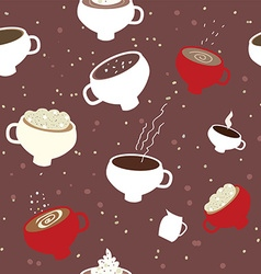 Coffee cups seamles pattern vector image vector image