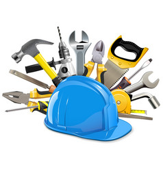 construction helmet with instruments vector image vector image