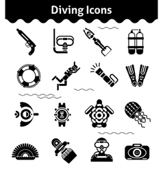 Diving icons black vector