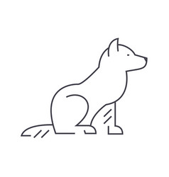 dog line icon sign on vector image