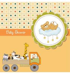 funny cartoon baby shower card vector image vector image