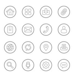 Gray line web icon set circle vector