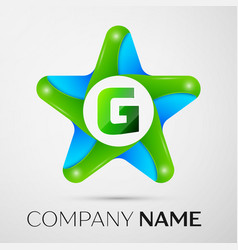 letter g logo symbol in the colorful star on grey vector image vector image