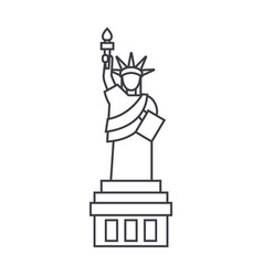 liberty statue line icon sig vector image