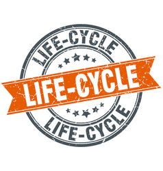 Life-cycle round grunge ribbon stamp vector