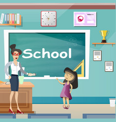 little girl with teache in classroom vector image vector image