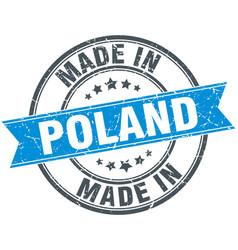 Made in poland blue round vintage stamp vector