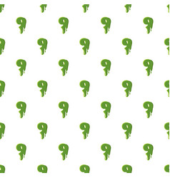 Numder 9 made of green slime vector
