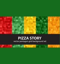 Pentagon pattern set pizza story seamless vector