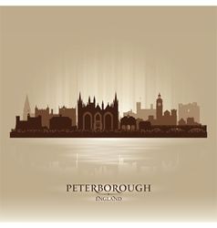 Peterborough England city skyline silhouette vector image
