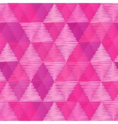 Pink vintage textile triangles seamless pattern vector image