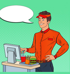 pop art man cashier takes the order fast food vector image vector image