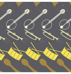 Seamless background with drum guitar tube vector