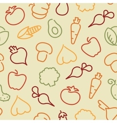 Seamless pattern with contours of vegetables vector image vector image
