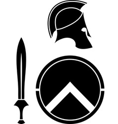Spartans helmet sword and shield vector