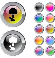 Tree multicolor round button vector image