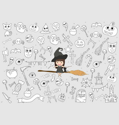 witch cute and black cat ride on broom halloween vector image